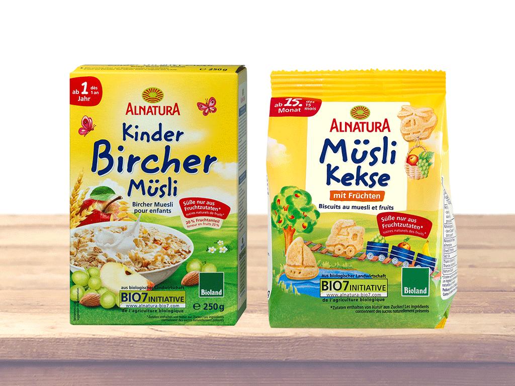 Alnatura Kinder-Bircher-Müsli (ab 1 Jahr) und Alnatura Müslikekse (ab 15. Monat)