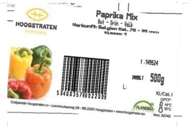 Paprika-Mix (rot – grün – gelb), Marke Hoogstraten, 500 g