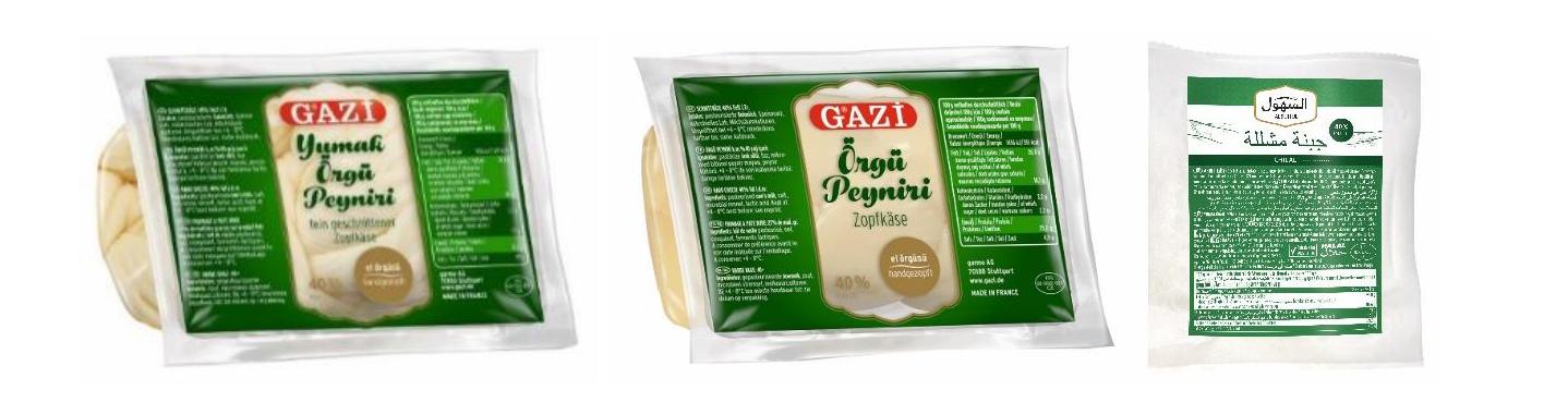GAZi Yumak Örgü Peyniri - Fein geschnittener Zopfkäse ca. 200 g vakuumiert GAZi Yumak Örgü Peyniri - Fein geschnittener Zopfkäse 200 g vakuumiert GAZi Örgü Peyniri – Zopfkäse - 40% Fett i. Tr. ca. - 250 g vakuumiert ALSUHUL Chilal – 40 % Fett i. Tr. - ca. 200 g vakuumiert