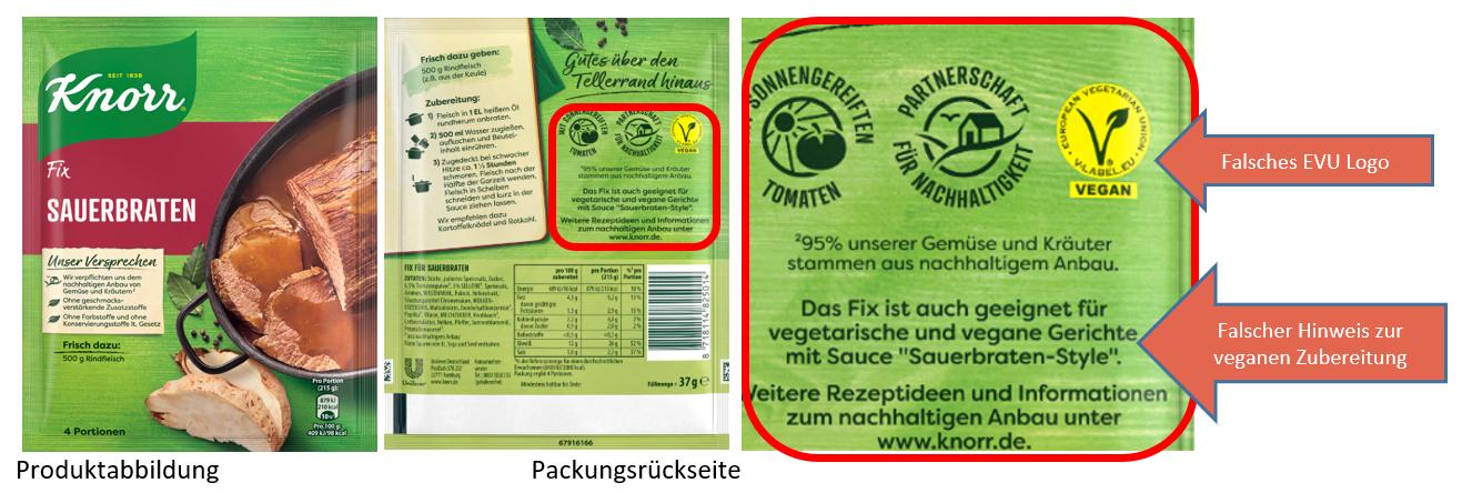 Aktualisierung der Meldung vom 17.01.2020 KNORR FIX für Sauerbraten