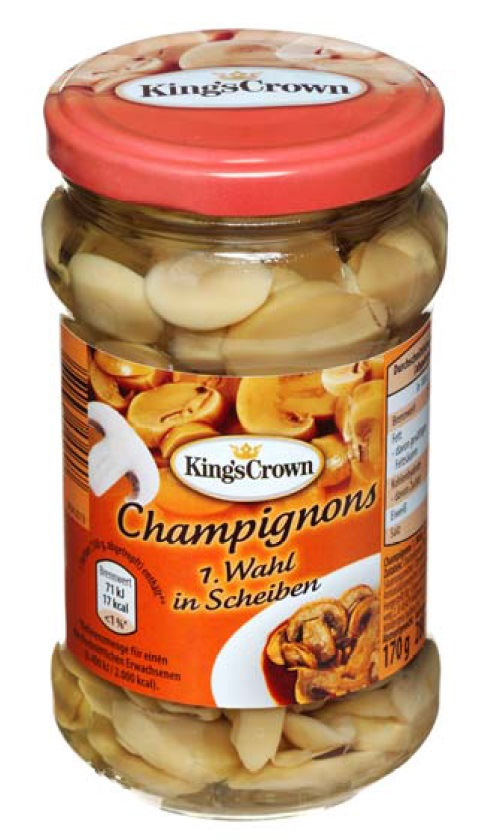 "Champignons 1.Wahl, in Scheiben; Marke ""King´s Crown"""