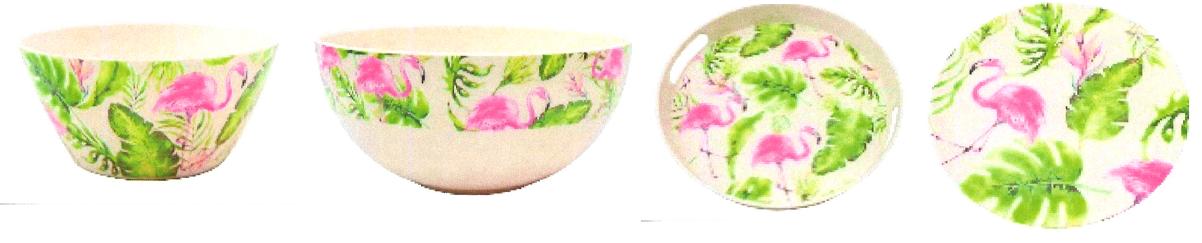 Salatschüssel 'Flamingo' klein / ca. 14x14x7cm, Salatschüssel 'Flamingo' bauchig / ca. 20x20x6cm, Tablett rund mit Griff 'Flamingo'/ ca. 29x29x4cm, Teller 'Flamingo' klein / ca. 20x20x1,7cm