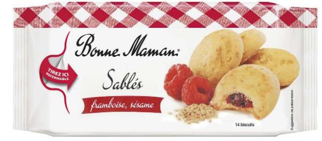 Bonne Maman Sablés framboise, sésame 150 g, EAN: 3178530412840