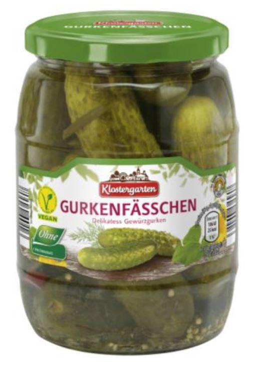 Marke: Klostergarten Gurkenfässchen (Delikatess Gewürzgurken)