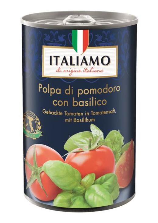 Italiamo Gehackte Tomaten in Tomatensaft mit Basilikum, 400g