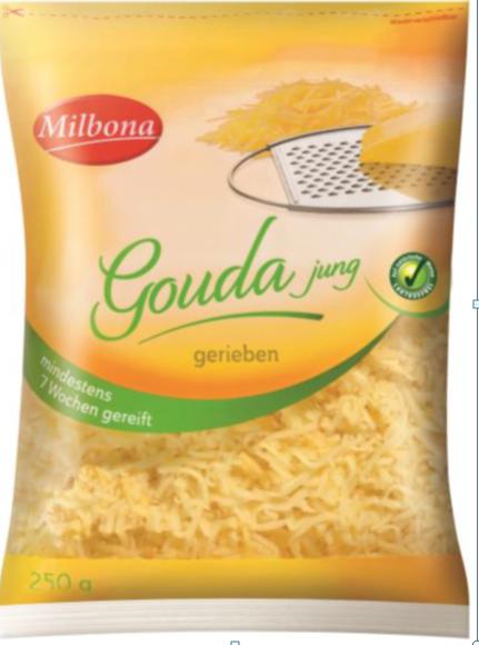 Milbona Gouda jung gerieben, mindestens 7 Wochen gereift, 250 g