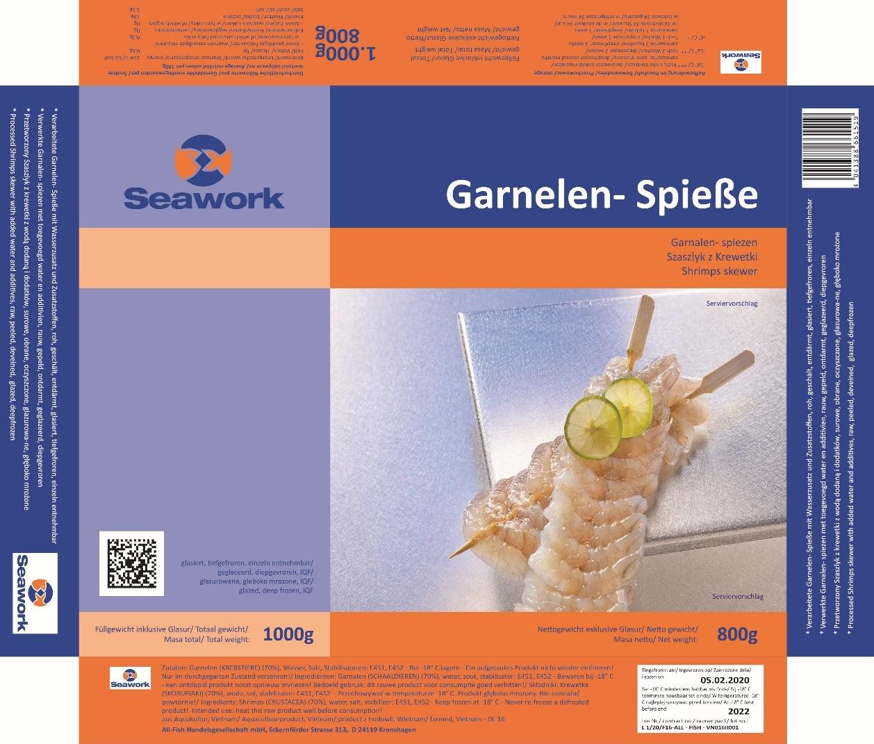 Tiefkühlprodukt Garnelen-Spieße