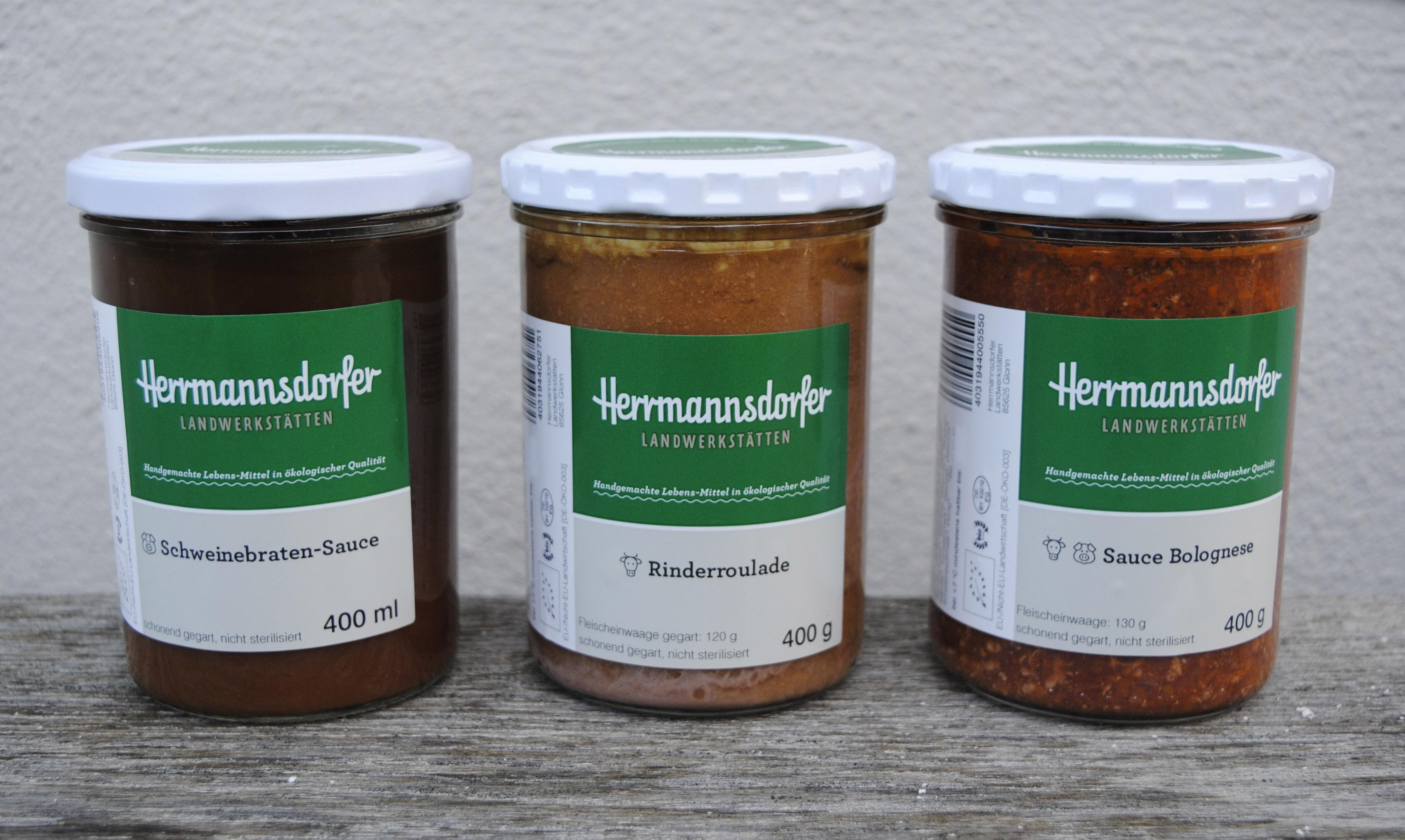 Herrmannsdorfer Sauce Bolognese 400ml Glas Herrmannsdorfer Rinderroulade 400g Glas Herrmannsdorfer Schweinebratensauce 400ml Glas