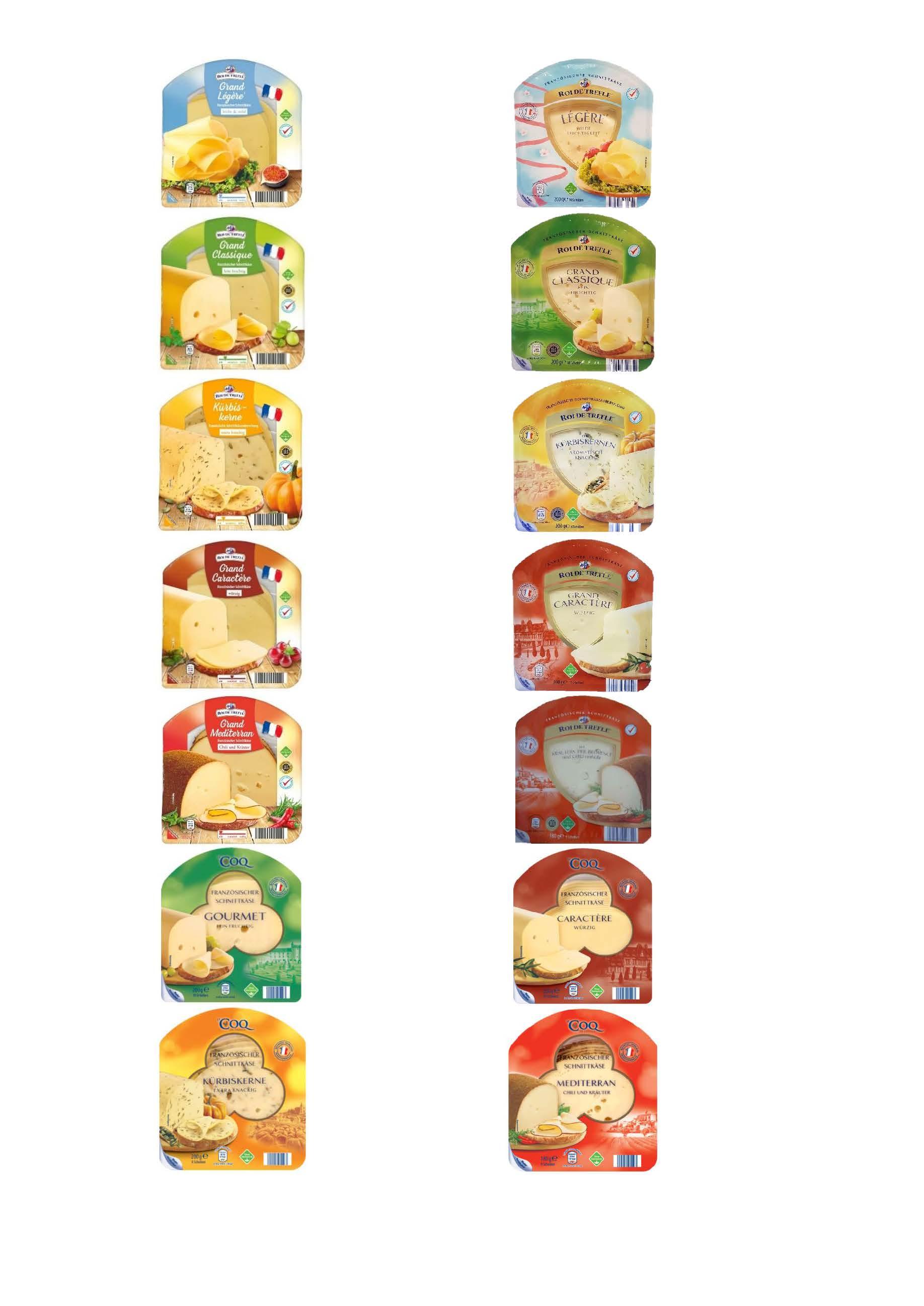 """Verschiedene Schnittkäse-Variationen der Marken """"Roi de Trèfle"""" und """"Le Coq de France"""""""