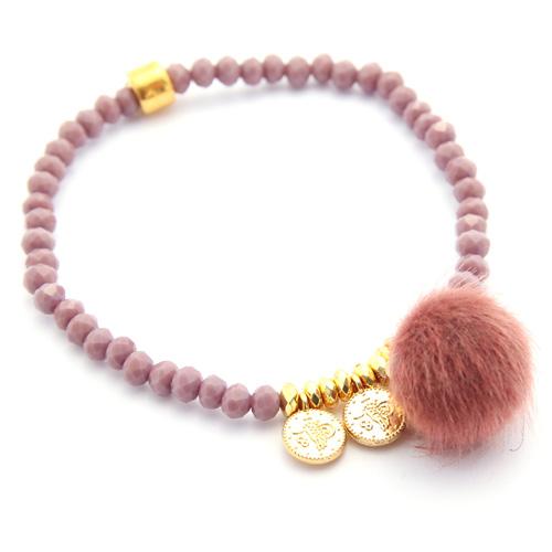 Kristall-Armband mit Pompom, Farbe berry, Artikelnummer 4KPB Holzperlen Halskette mit Seidenquaste, moos, Art. Nr. 4HHM