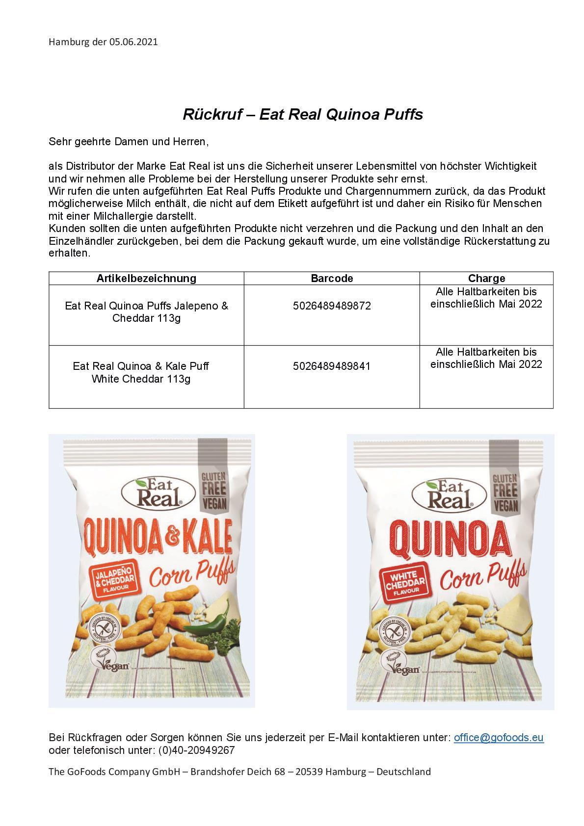 Eat Real Quinoa & Kale Corn Puffs Jalapeno & Cheddar und