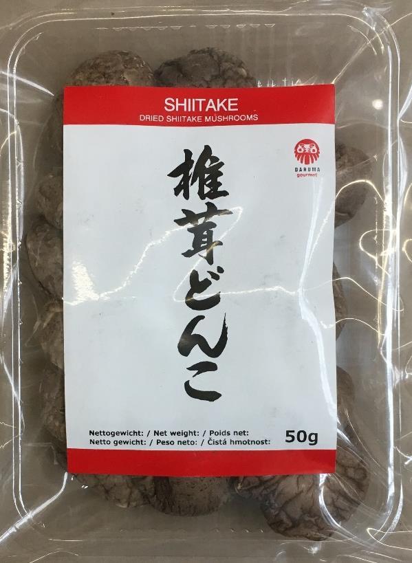 Shiitake Donko, getrocknete Shiitake-Pilze, 50 g, Artikel J013 Shiitake Donko, getrocknete Shiitake-Pilze, 1 kg, Artikel J002