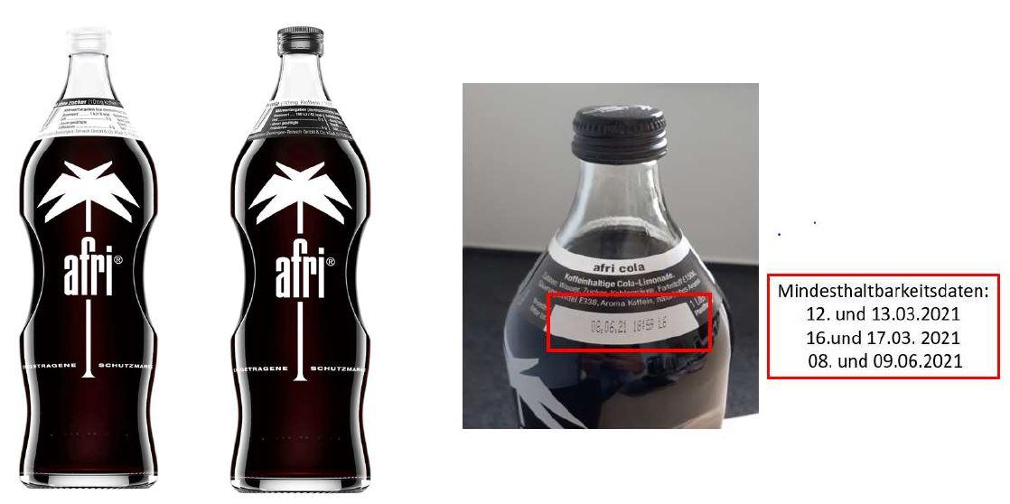 afri Cola 10 mg Coffein und afri Cola ohne Zucker in der 1 l Glasflasche