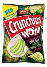 Crunchips WOW Cream & Mild Wasabi 110g, MHD: 30.11.2020 - 03.05.2021 Wasabi Erdnüsse 100g, MHD: 03.11.2020 - 01.06.2021 Wasabi Erdnüsse 800g, MHD: 05.11.2020 - 26.04.2021