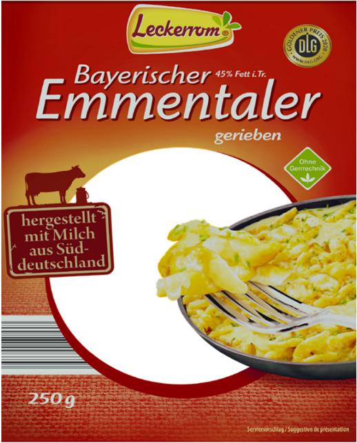Leckerrom Bayerischer Emmentaler gerieben, im 250 g Beutel, 45 % Fett i.Tr.