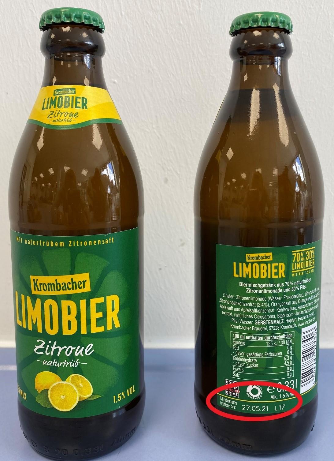 Limobier - Biermischgetränk aus 70 % naturtrüber Zitronenlimonade und 30 % Pils