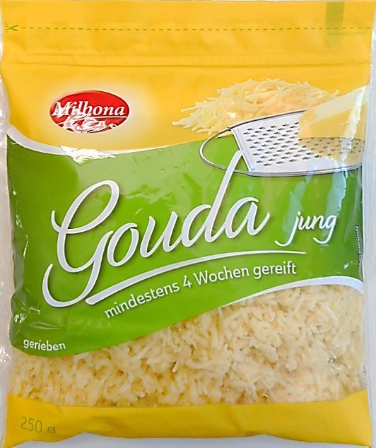 Milbona Gouda jung gerieben, mindestens 4 Wochen gereift, 250 g