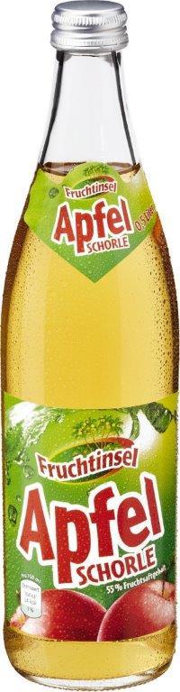 Fruchtinsel Apfelschorle (0,5 Liter Mehrweg-Glasflasche)