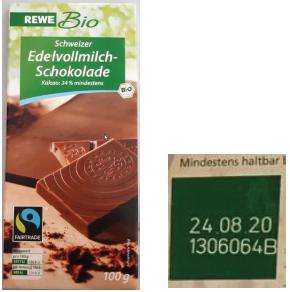 REWE Bio Schweizer Edelvollmilchschokolade