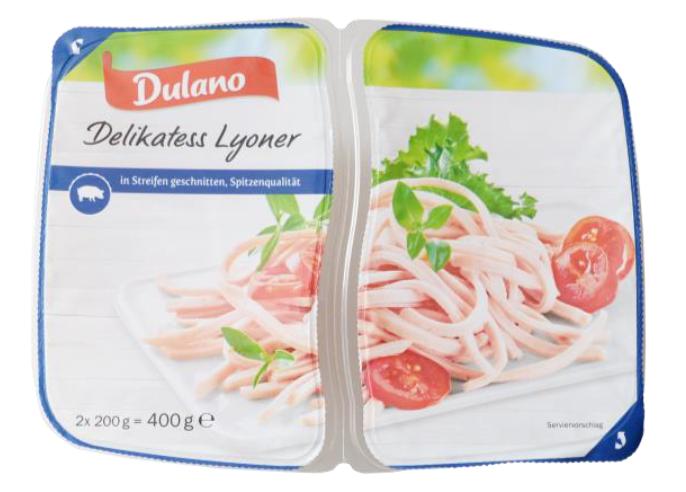 Dulano Delikatess Lyoner, in Sreifen geschnitten 2 x 200 g