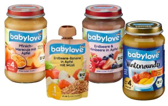 babylove Granatapfel-Mango in Apfel, 190 g, nach dem 4. Monat, MHD: 15.10.2020 babylove Pfirsich-Maracuja in Apfel, 190 g, nach dem 4. Monat, MHD: 16.10.2020 babylove Erdbeere & Himbeere in Apfel, 190 g, nach dem 4. Monat, MHD: 16.10.2020 babylove Erdbeere-Banane in Apfel mit Müsli, 90 g, ab 1 Jahr (Quetschbeutel), MHD: 16.10.2020 und 17.10.2020