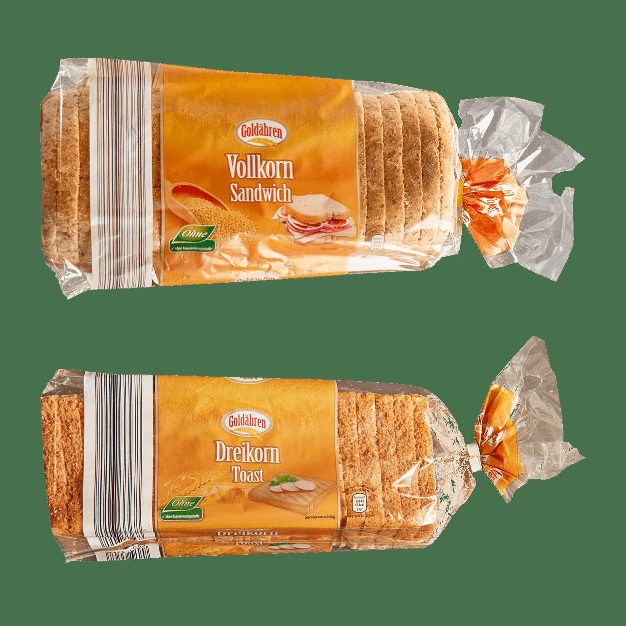 Goldähren Dreikorntoast 500g Goldähren Vollkornsandwich 750g