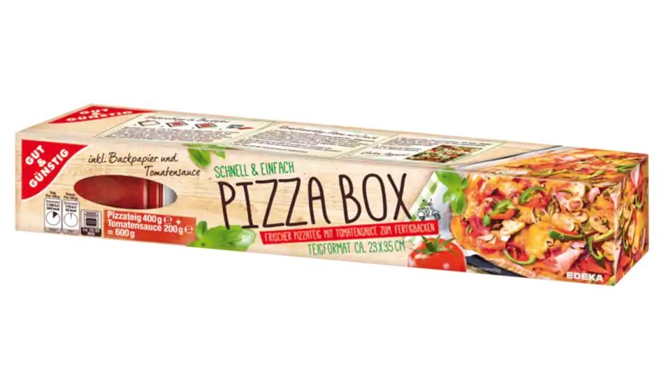 GUT & Günstig Pizza Box (600 Gramm) mit dem Strichcode (GTIN) 4311596464869 Backfertiger Pizzateig mit Tomatensauce